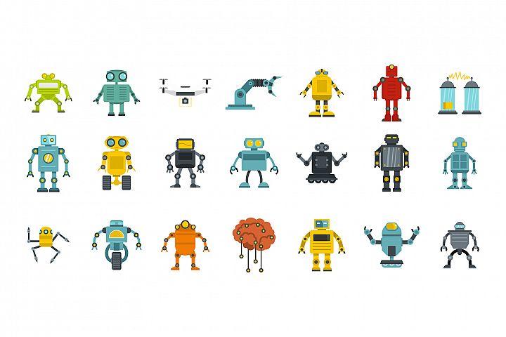 Robot icon set, flat style