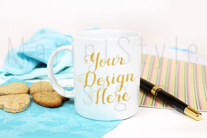 Colorful mug mockup, stock photo, cookies, blue desk, 310