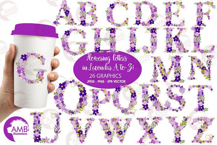Floral alphabet clipart, graphics, illustrations AMB-2388