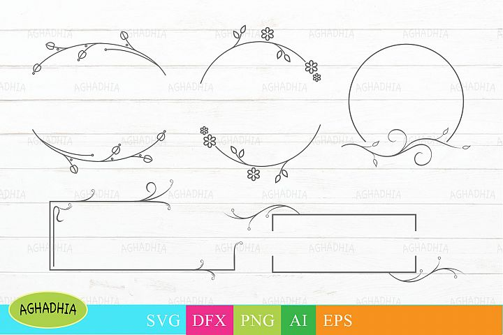 Floral frames design. Flower frames vector elements.