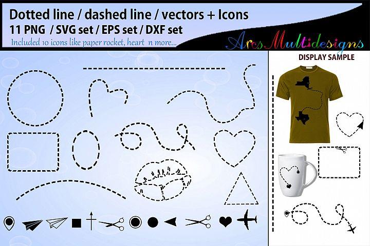 Dotted line svg vector / valentine dashed line svg