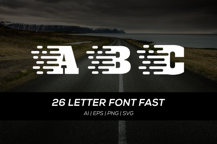 26 letter font with fast concept