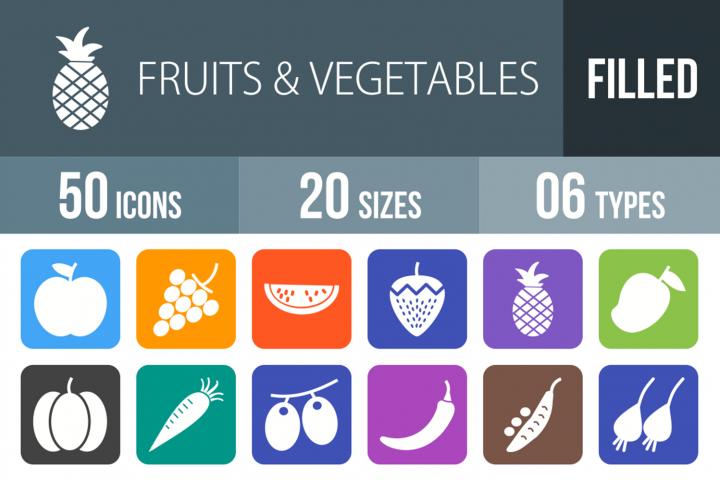 50 Fruits & Vegetables Filled Round Corner Icons