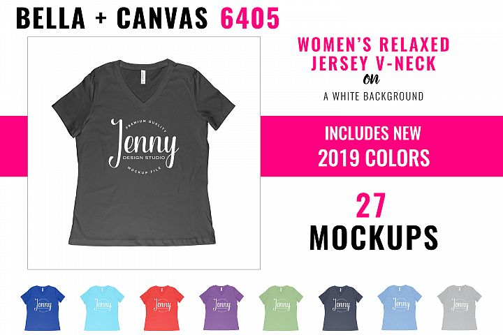 Bella Canvas 6405 Mockup Bundle, Womens Relaxed Jersey Tee