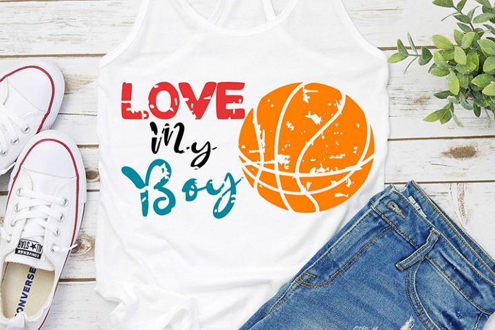 love my boy basketball distressed