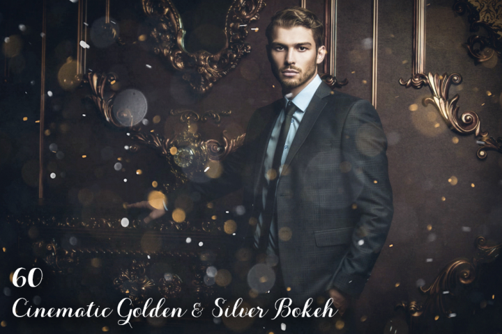 60 Cinematic Golden & Silver Bokeh Photo Overlays
