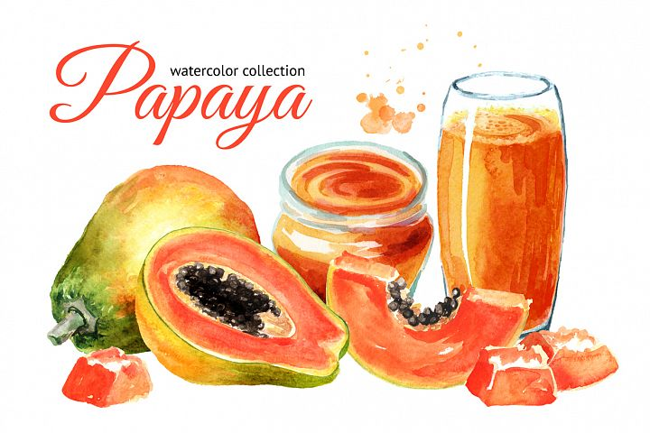 Papaya. Watercolor collection