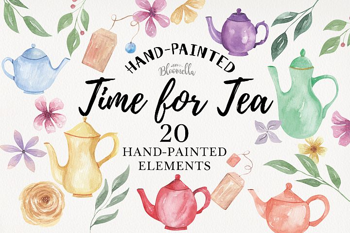 Teapot 20 Watercolor Tea Time Elements Flowers Foliage Leaf