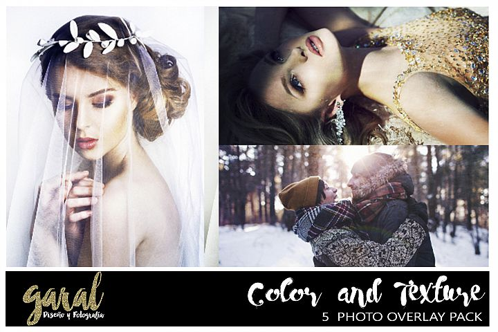 Color & Texture Photoshop Overlays 5 Pack, Photoshop overlay, color effect, soft light effect, Color overlays, texture overlays