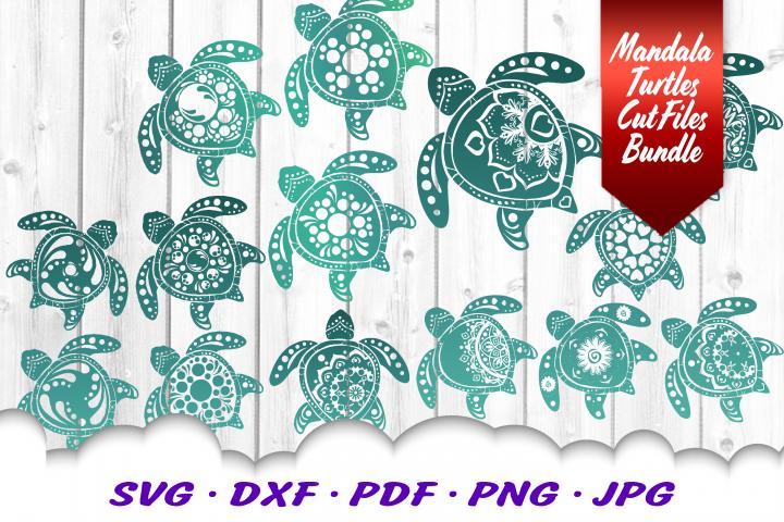 BIG Mandala Sea Turtle SVG DXF Cut Files Bundle