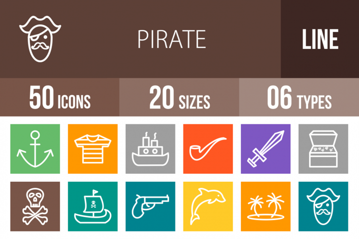 50 Pirate Line Multicolor B/G Icons