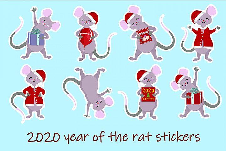 cute vector card with cartoon kawaii mouse or rat. New Year