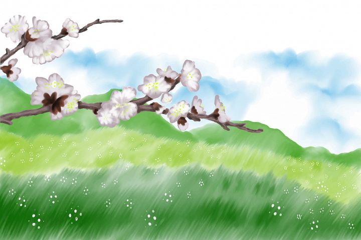 spring landscape tree branches hand painting vector