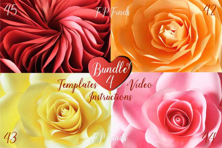Giant Paper Rose Templates, Bundle of 4