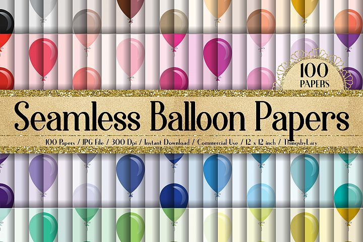 100 Seamless Balloon Pattern Kid Birthday Digital Papers