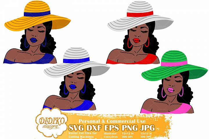 Black Woman Bundle SVG, Afro Woman SVG, Fashion Hat SVG
