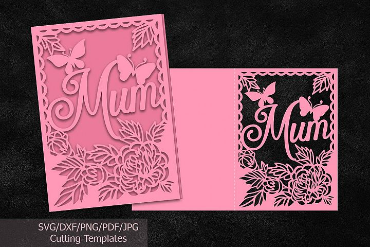 Mothers day card papercutting template svg dxf machine cut