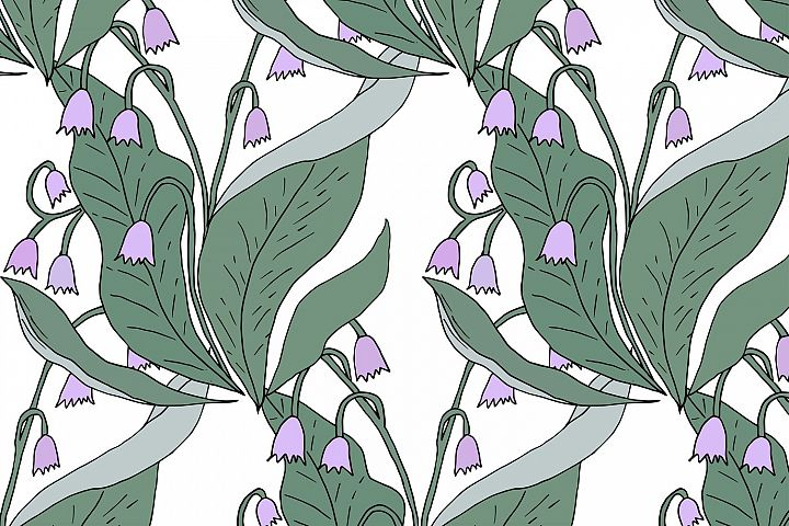 Lily of the valley seamless vector pattern