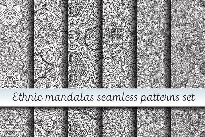 Ethnic mandalas black and white seamless patterns