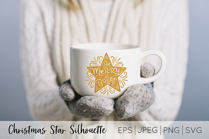 Merry and Bright Star Silhouette vector art