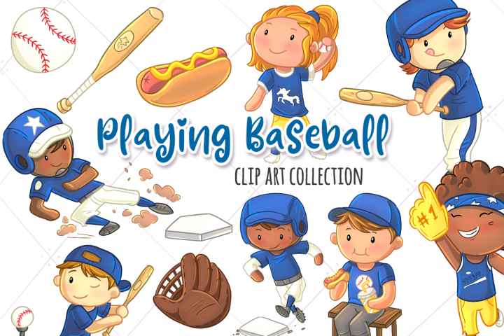 Kids Playing Baseball Clip Art Collection