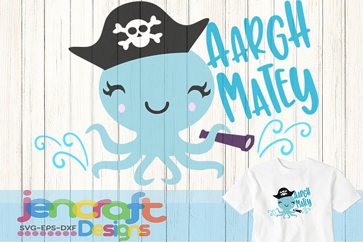 Aargh Matey Octopus Design Cut file in SVG, DXF, EPS, Png