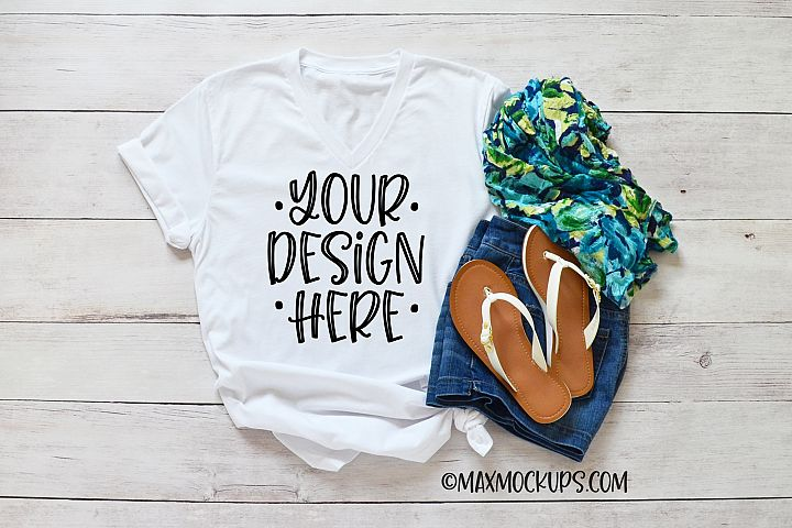 White t-shirt mockup Bella vneck, scarf, shorts, sandals