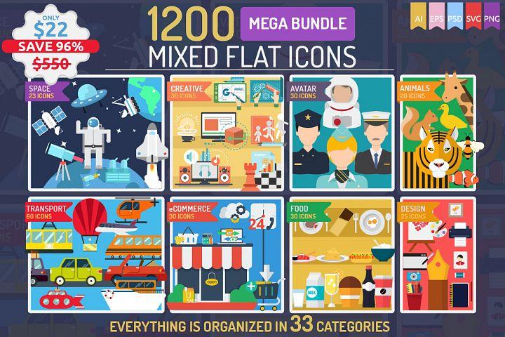1200 Mixed Flat Icons | Mega Bundle Vol 1