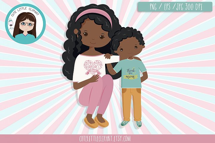 Mom and son clipart