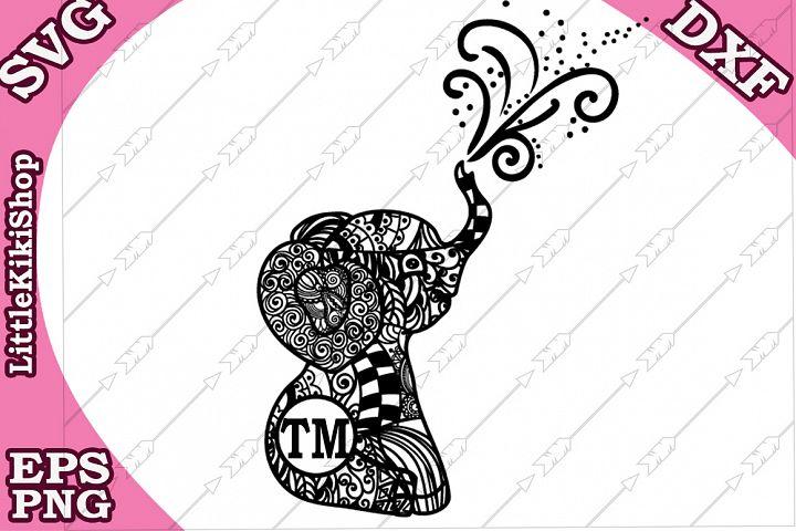 Baby Elephant Monogram Svg,Mandala Elephant Svg,Elephant Svg