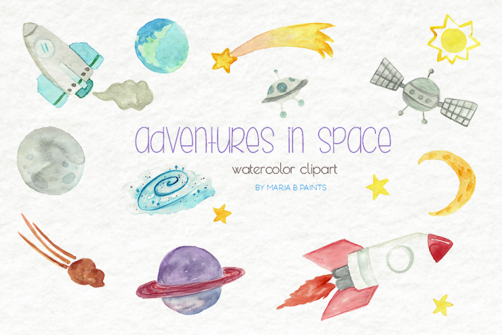 Outer Space Watercolor Clipart Set