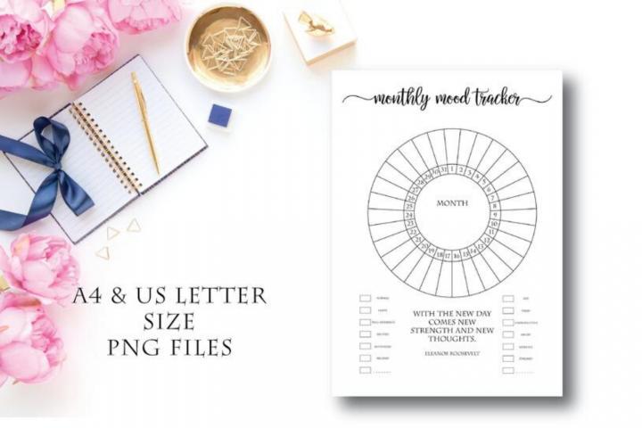 A4 Circle Mood Tracker Printable, Mood Chart, Mood Journal