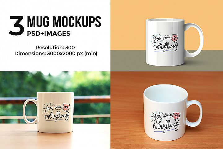 3 Mug Mock-ups