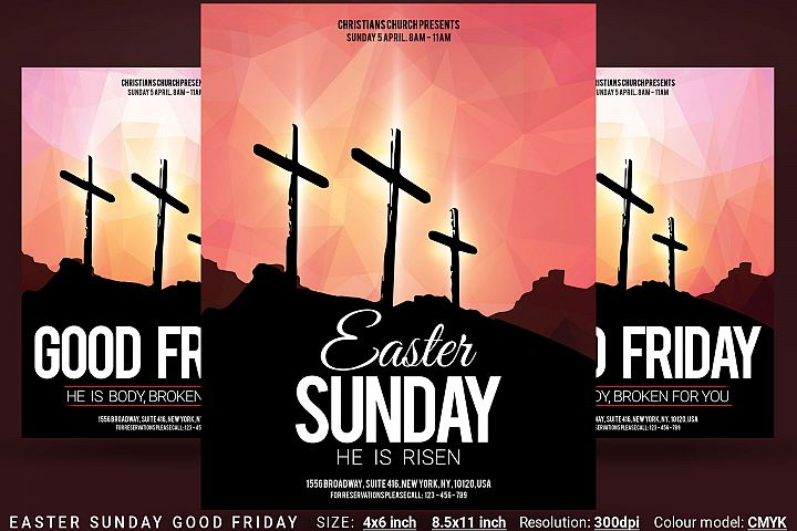 Easter Sunday Good Friday Church Flyer