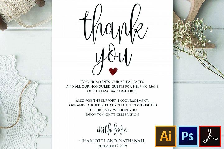 Wedding Thank You Note, Printable Thank You Card Template