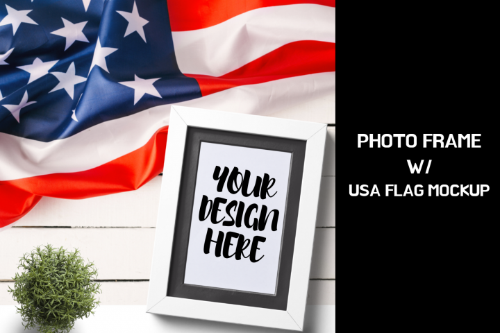 Photo Frame With USA Flag Mock up|2000x2000px