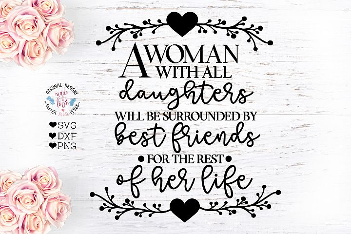 A woman with all Daughters - Mothers Day SVG