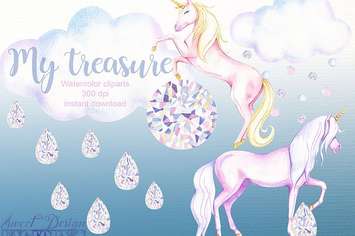 watercolor and crystal clipart