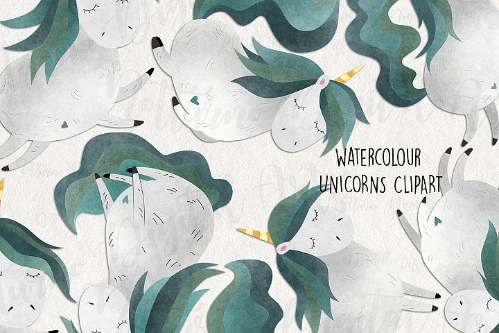 Watercolor Unicorn clipart. Unicorn digital images