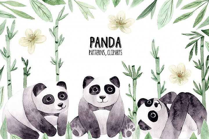 Watercolor Panda. Patterns, Cliparts