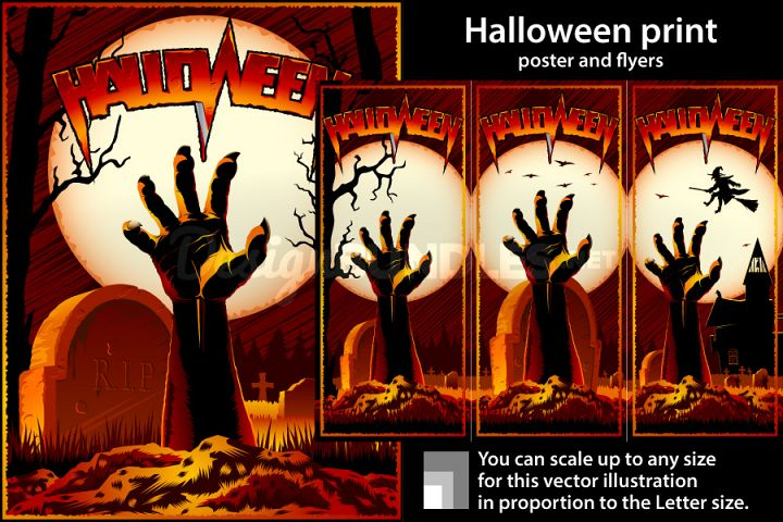 Vector Zombie Hand Cemetery Halloween Background Print Stamp