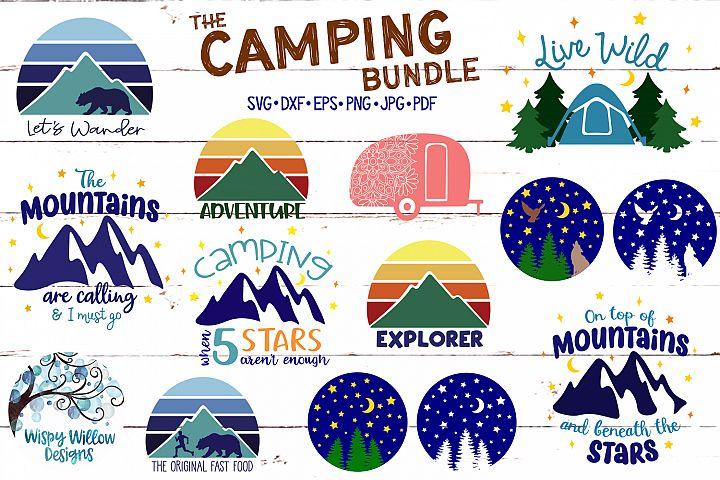 Camping SVG Cut File Bundle | Mountains SVG