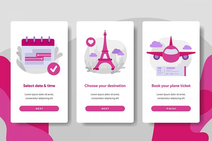 Onboarding screen template of Online Plane Ticket Booking