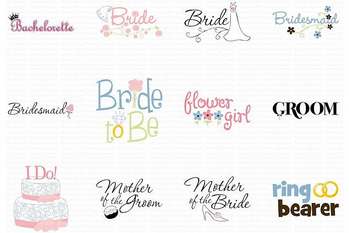 Wedding Sayings Bundle - Clipart and SVG - 12 Designs