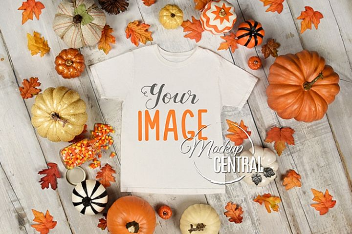 Blank Black Halloween T-Shirt Apparel Fall Shirt Mockup JPG
