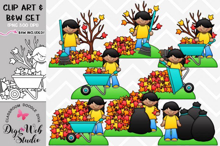 Clip Art / Illustrations - Sofia Rakes Leaves