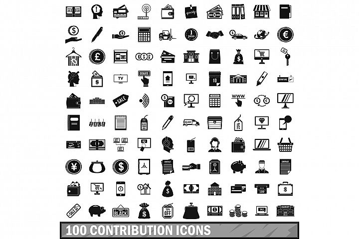 100 contribution icons set, simple style