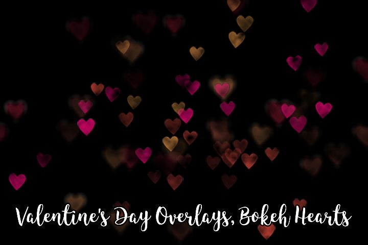 Valentines Day Overlays, Bokeh Hearts Overlays