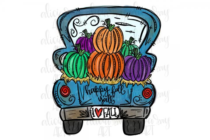 Fall Pumpkin Truck Sublimation PNG Digital Download
