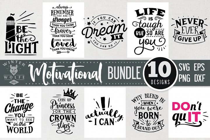 Motivational Bundle 10 designs SVG EPS DXF PNG